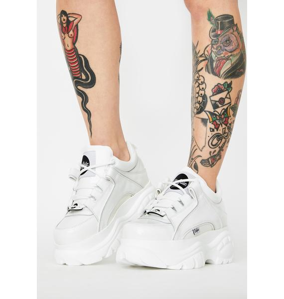 Buffalo London White Classic Low Patent Leather Sneakers