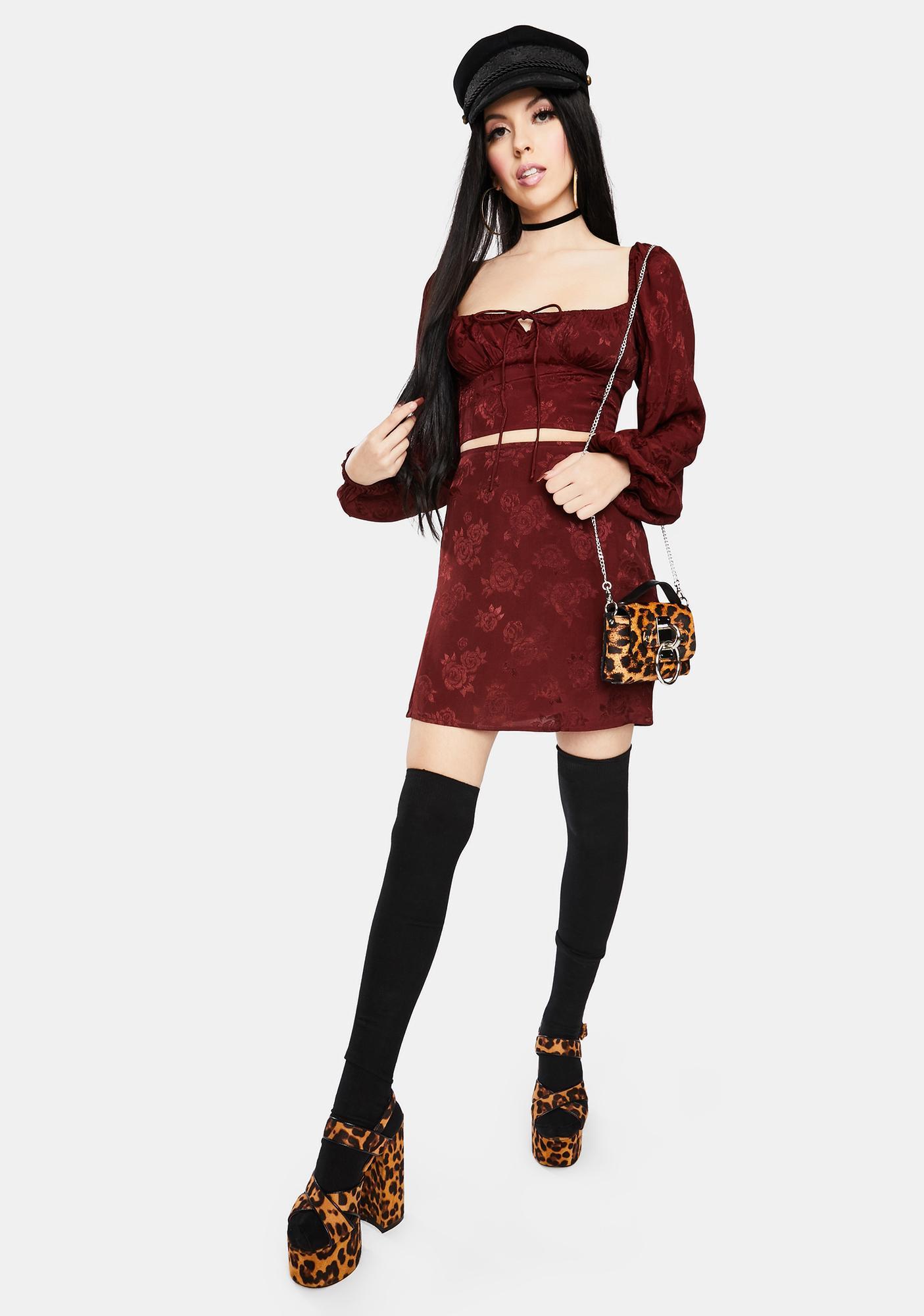 Motel Shenka Satin Rose Mulberry Mini Skirt