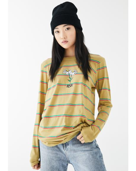 Happy Daze Striped Long Sleeve Tee