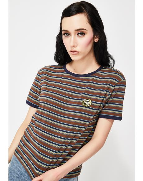 Stripy Sunflower Fitted Tee