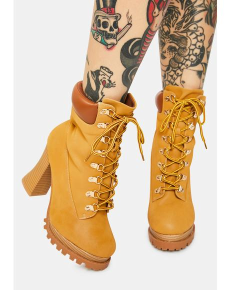 Tan Adventurous Heart Heeled Hiker Boots