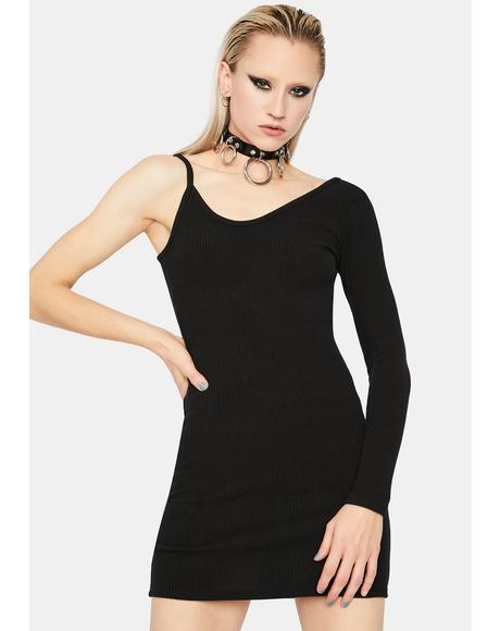 Too Annoyed One Sleeve Bodycon Mini Dress