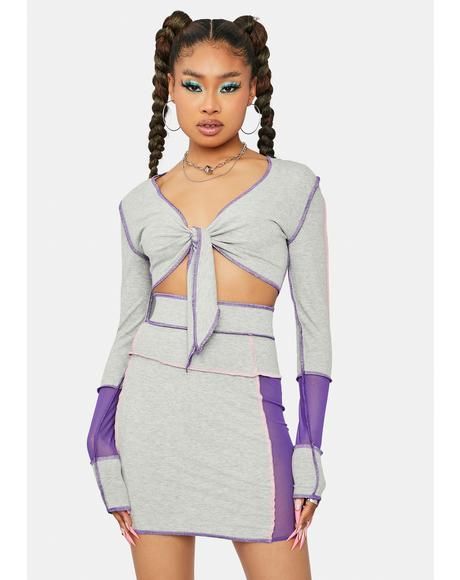 Cloudy True Feelings Colorblock Skirt Set