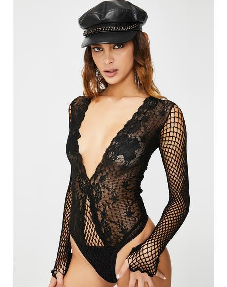 Sinful Glam Fishnet Bodysuit