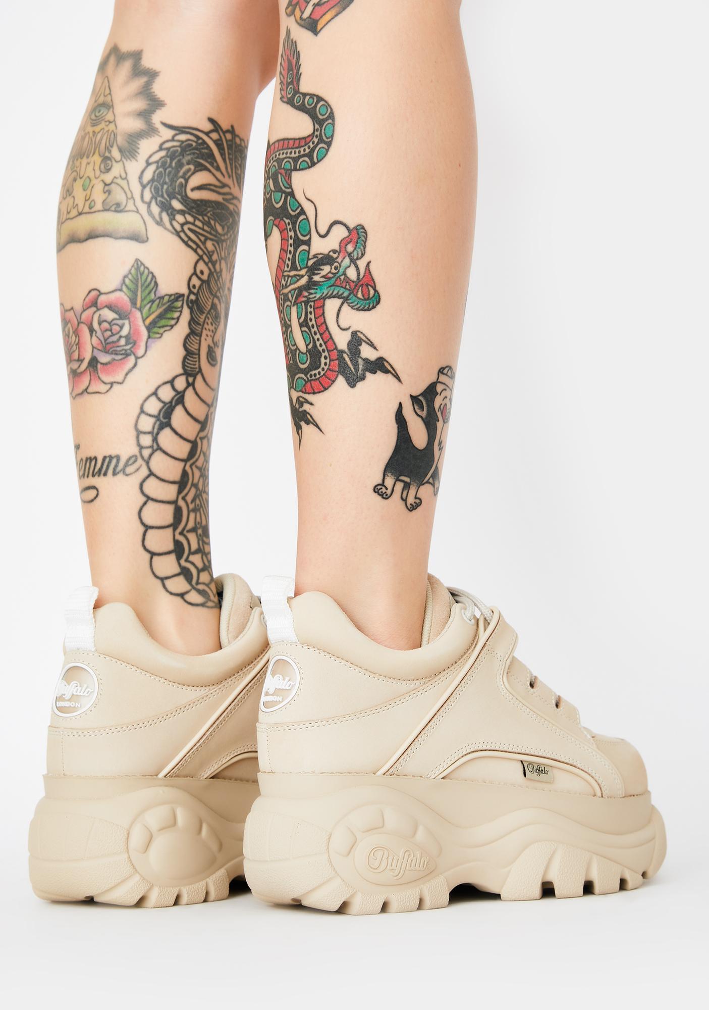 Buffalo London Cream Classic Low Leather Sneakers