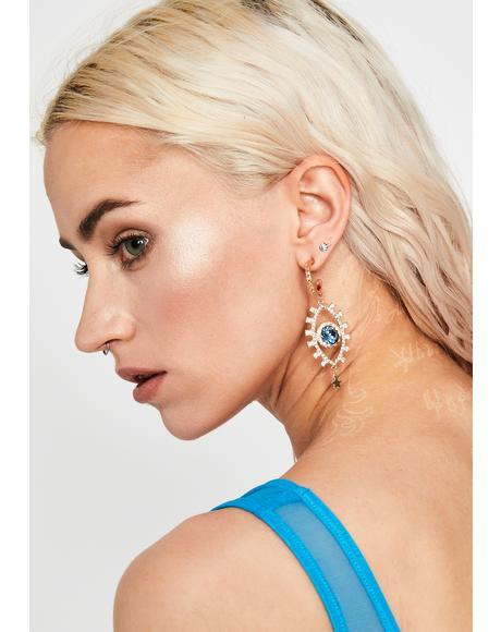 Gilded Evil Eye Drop Earrings