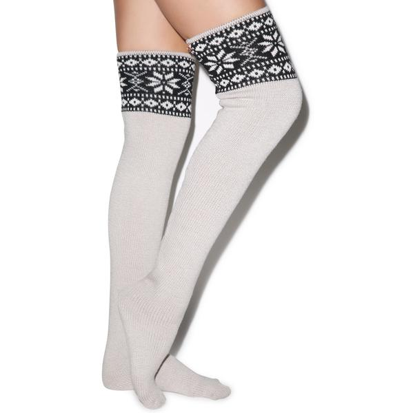 For Love & Lemons Snowed In Thigh High Socks
