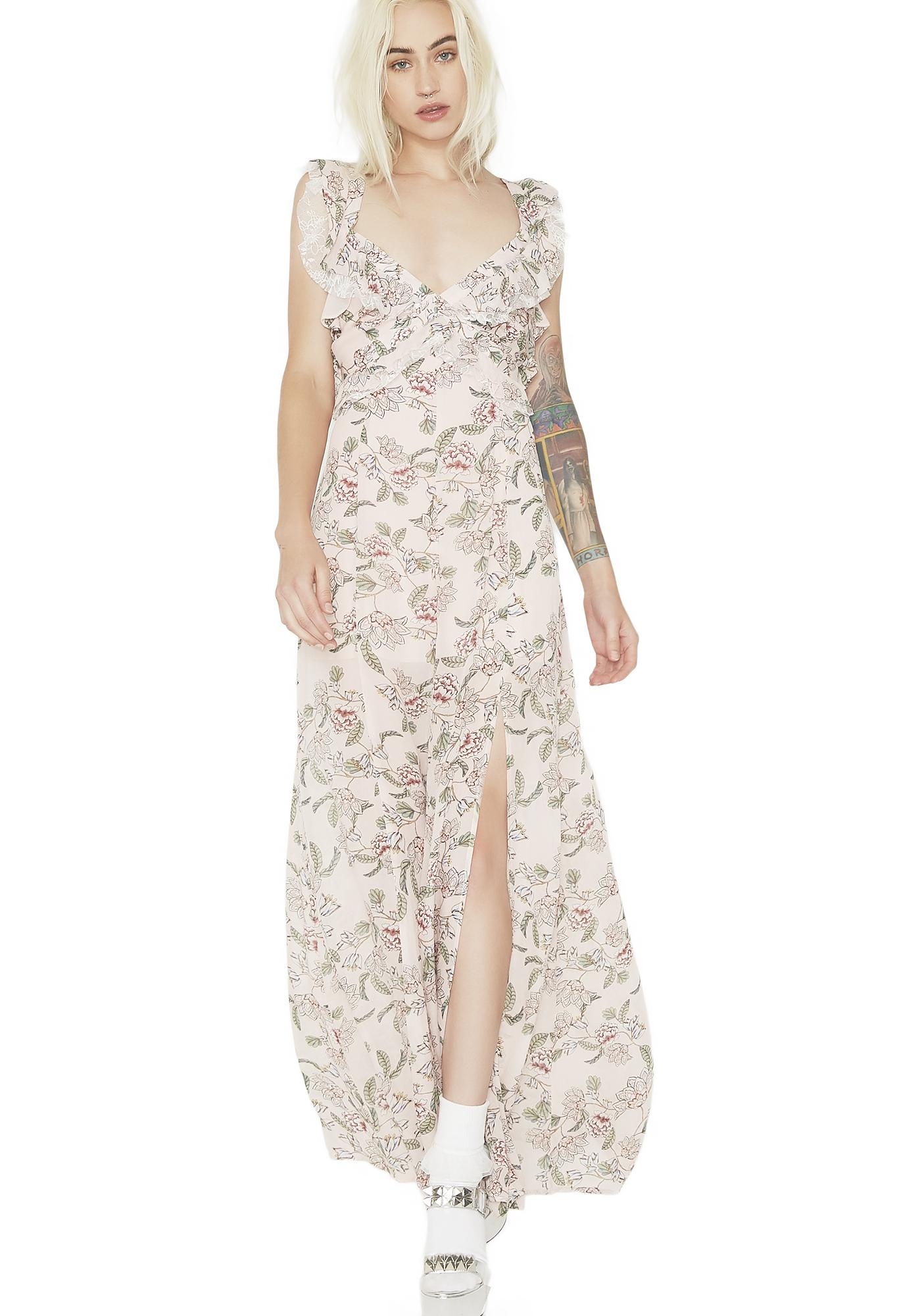 f277a3e5fa445 For Love & Lemons Bee Balm Floral Maxi Dress | Dolls Kill