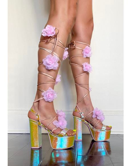 Crystal Garden Wrap Heels