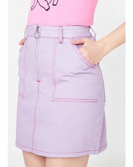 Contrast Stitch Cigarette Skirt