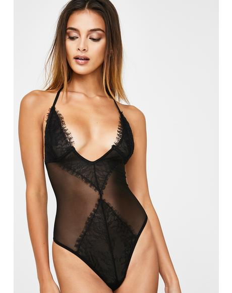 Sheer Lace Halter Bodysuit
