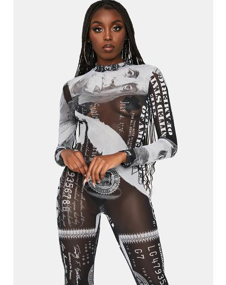 Cash Only Mesh Long Sleeve Catsuit