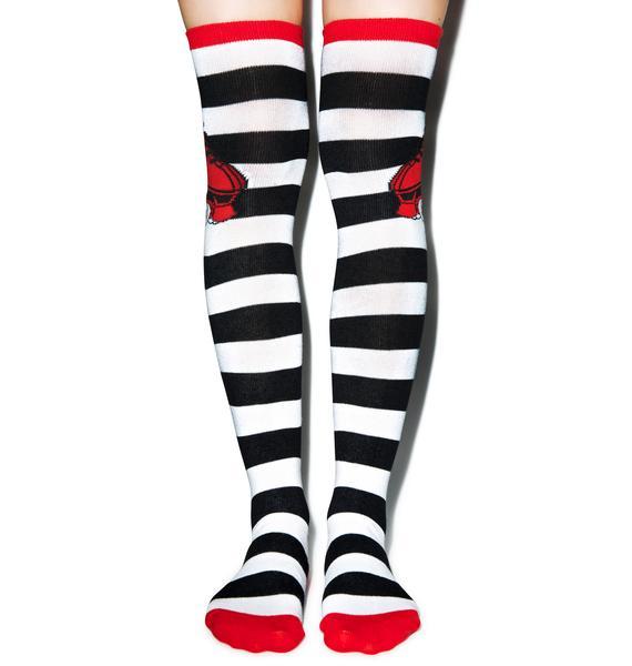 Sourpuss Clothing Over The Knee Flying Rollerskate Socks