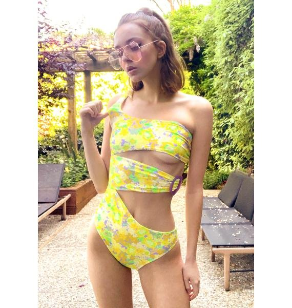 For Love & Lemons Freedom Floral One Piece Swimsuit