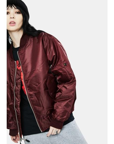 Maroon Red MA-1 Flight Jacket