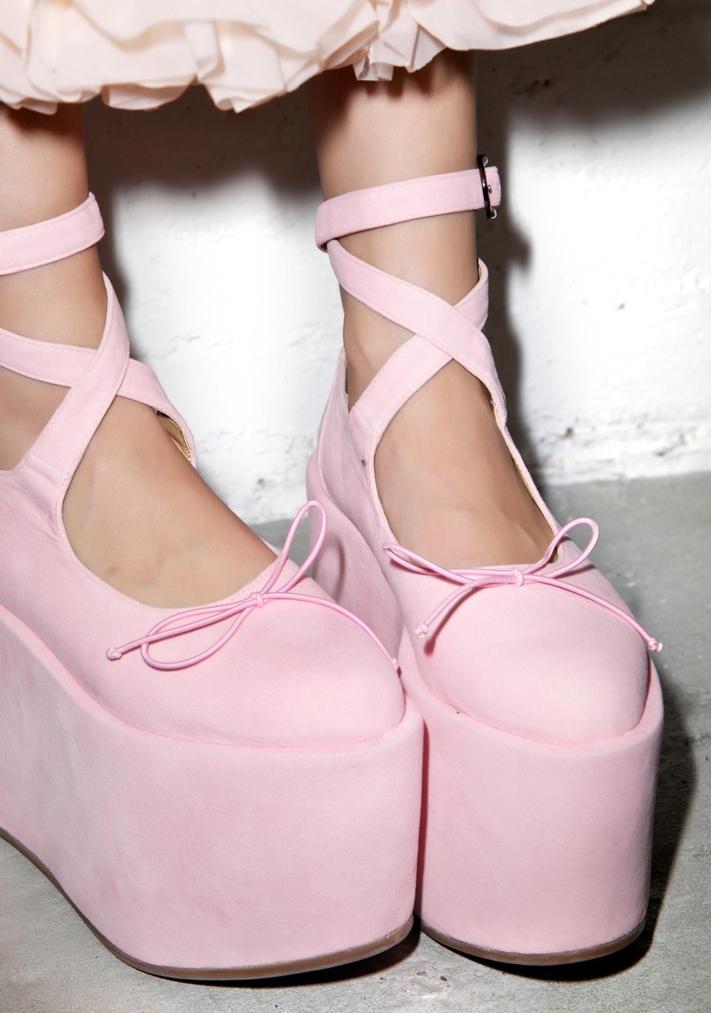 Sugarbaby Ballet Bopper Blush Platforms | Dolls Kill