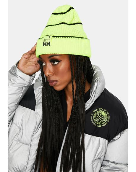 X Helly Hansen Lime Green Beanie