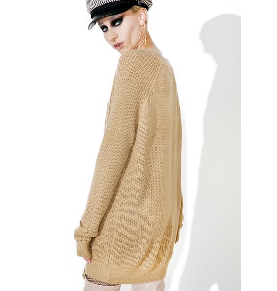 Mocha Myth Lace-Up Sweater