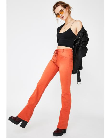 Orange Eva Lace Up Boot Cut Pants