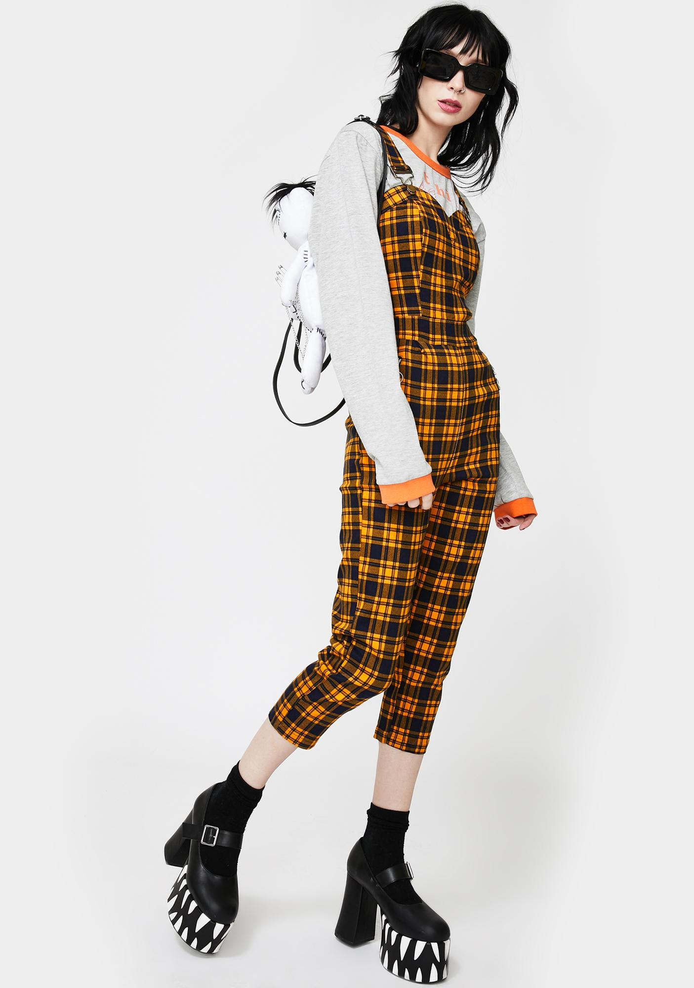 Jawbreaker Yellow Plaid Fitted Overall Jumpsuit