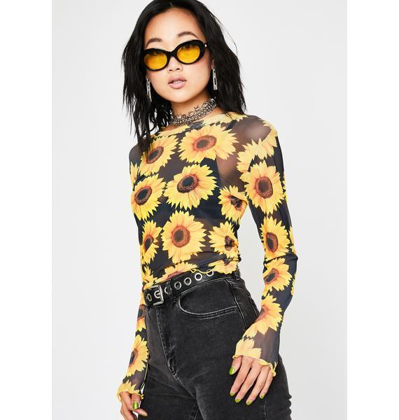 Sunny Like A Flower Mesh Top