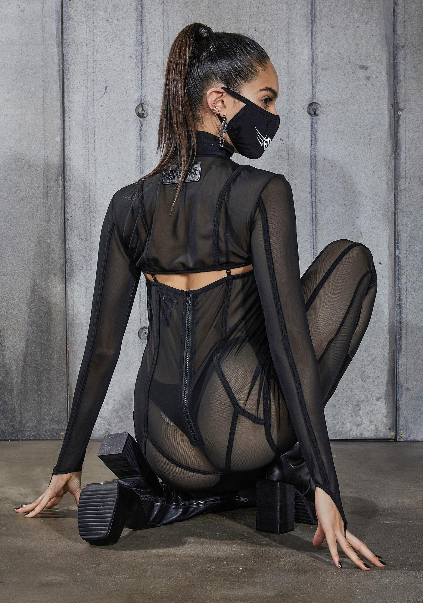 DARKER WAVS Snare Piping Detail Mesh Catsuit