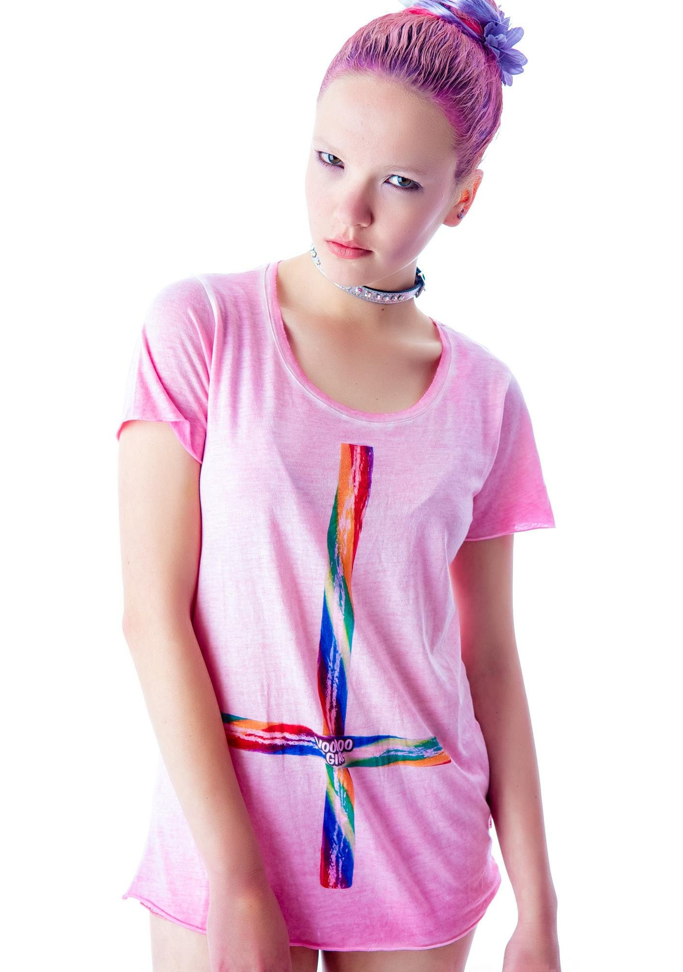 Candy Stick Cross Scoop Neck Tee
