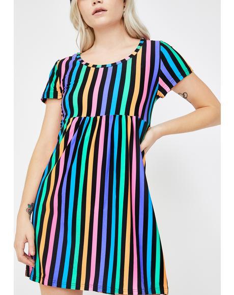 Rainbow Stripe 90's Baby Doll Dress