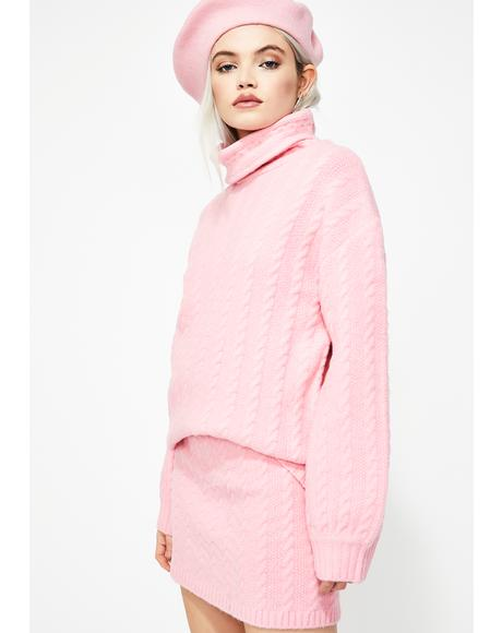 Bubblegum Pop Cable Knit Sweater