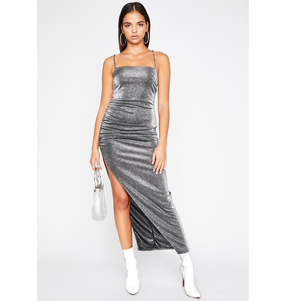 U Ain't Me Metallic Dress