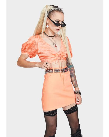 Tangerine Broomy Mini Skirt