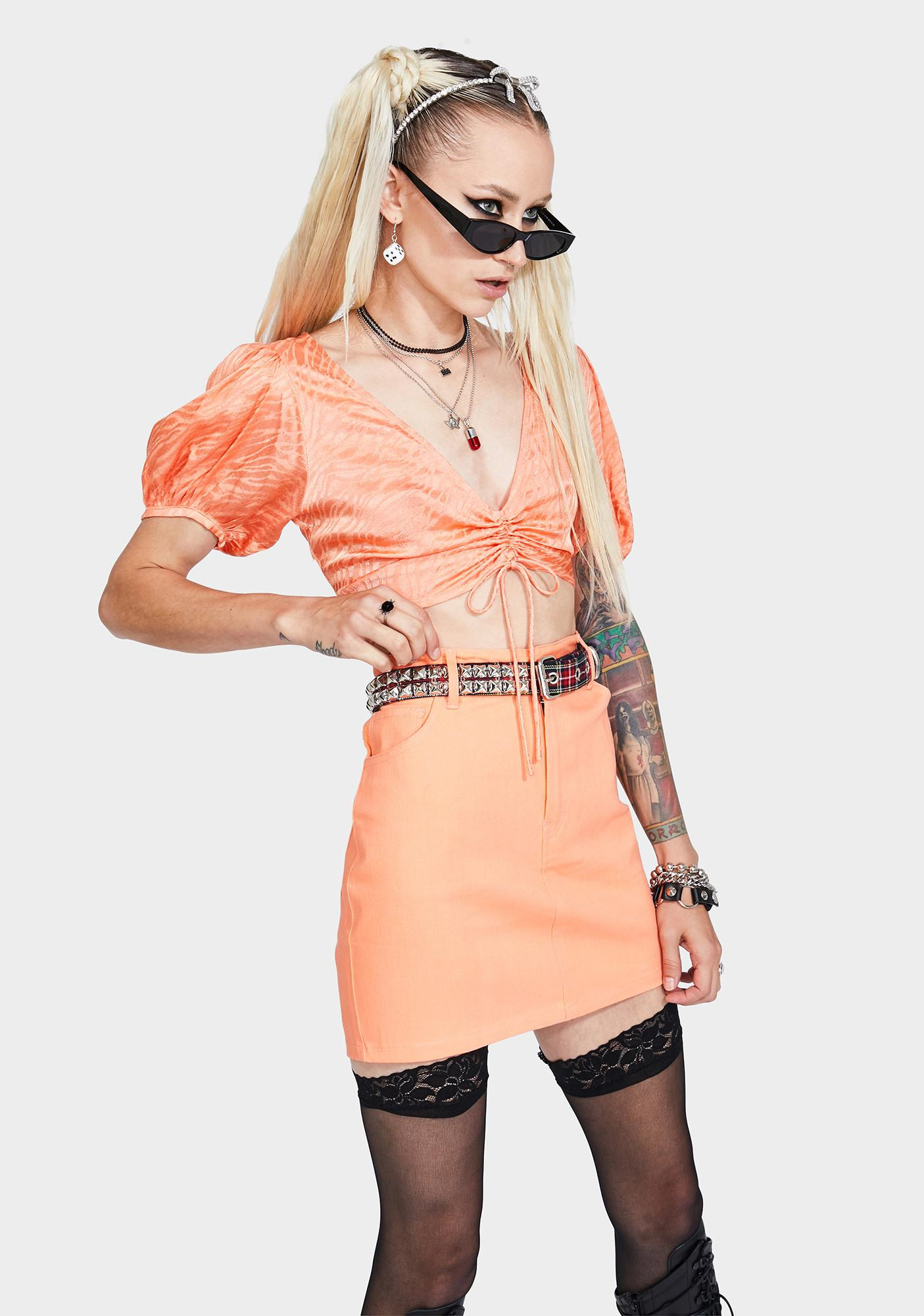 Motel Tangerine Broomy Mini Skirt