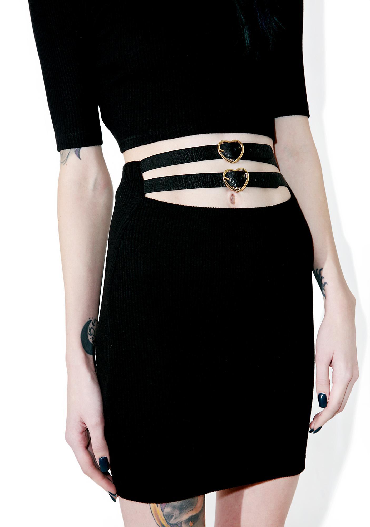 one spo Heart Belt Mini Skirt