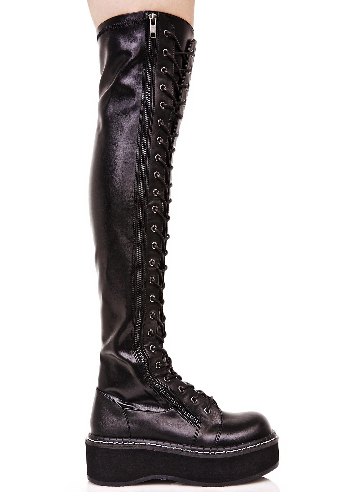 Demonia Hellraiser Lace-Up Boot