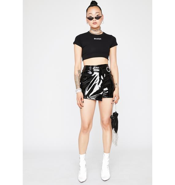 Night Bratty Bae Vinyl Skirt