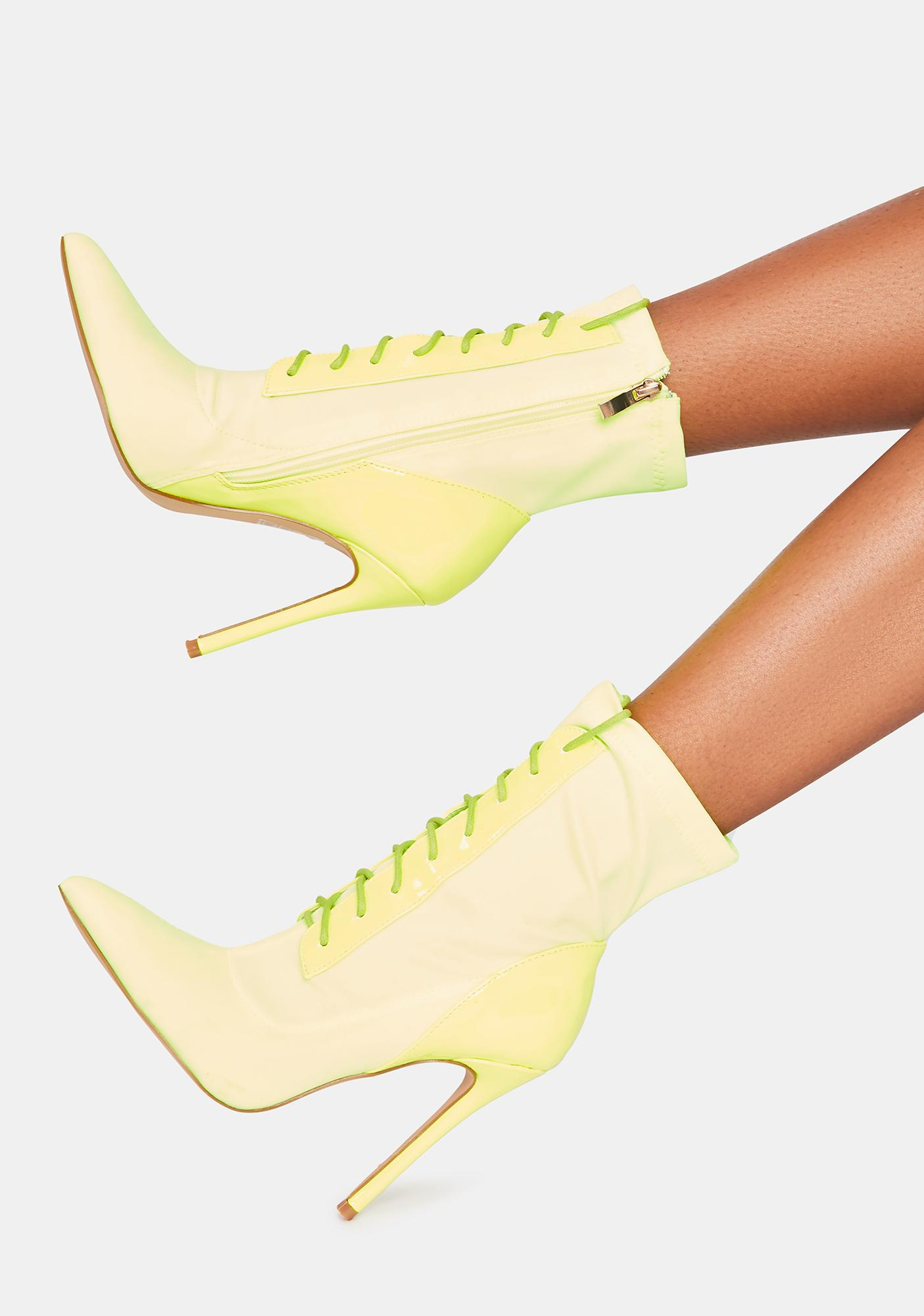 Lemon Off The Cuff Lace Up Ankle Boots