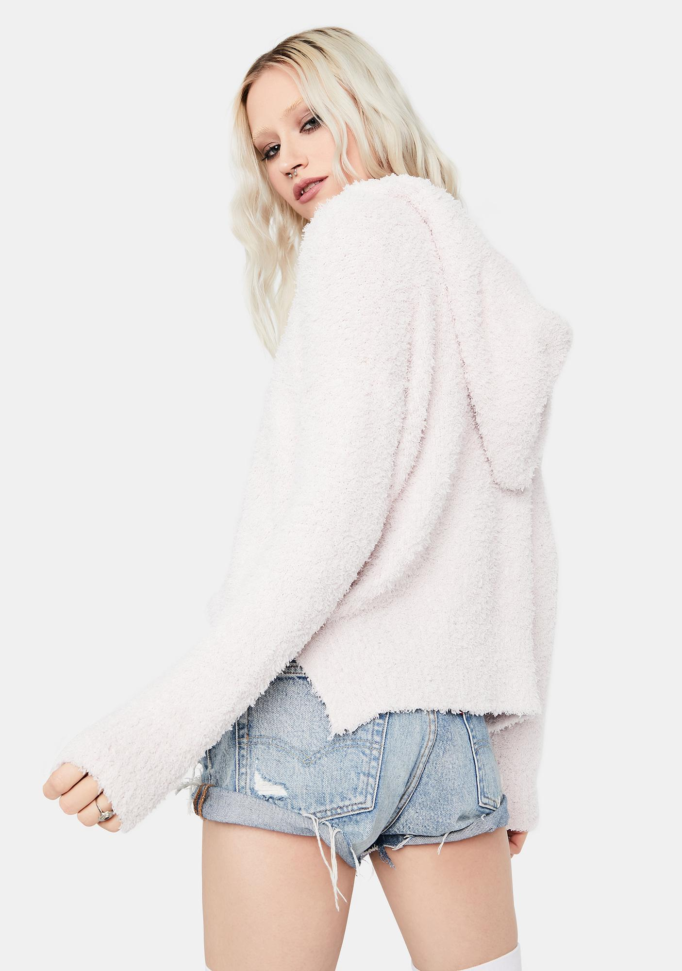 Blush Make It Count Fuzzy Knit Hoodie