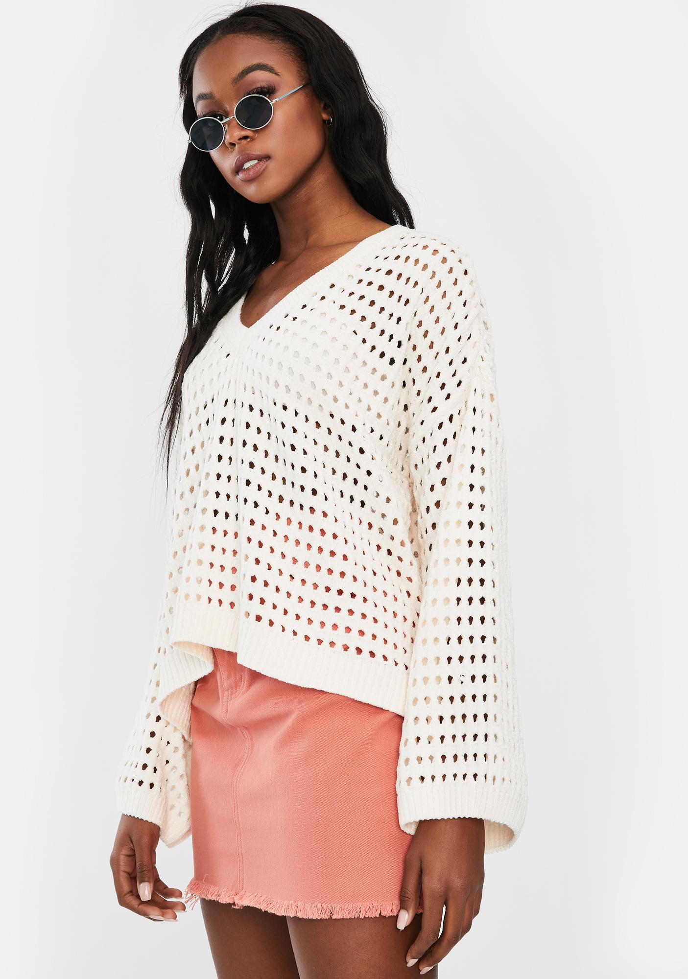 Mink Pink White Chenille Knit V-Neck Sweater
