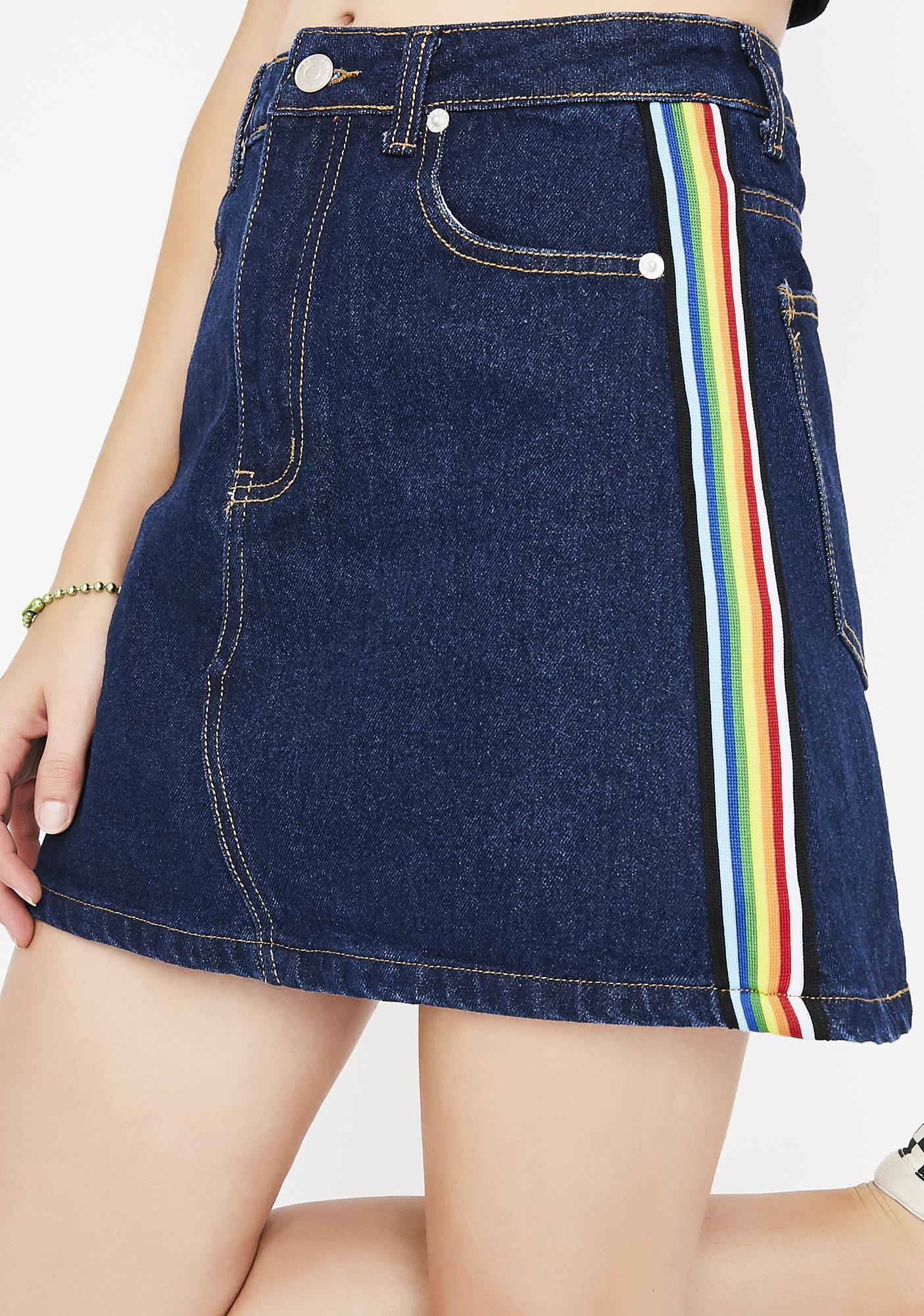 Follow My Rainbow Denim Skirt