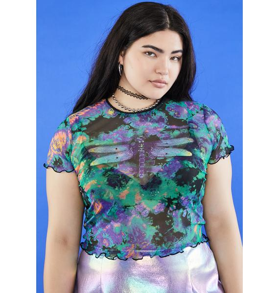 dELiA*s by Dolls Kill Lil Antisocial Dragonfly Mesh Top