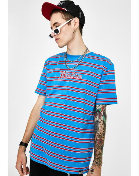 Blue Red Stripe Heartless Graphic Tee