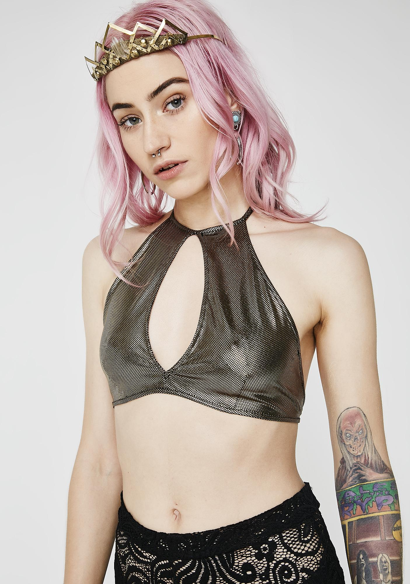 Lit Day N' Night Keyhole Crop Top