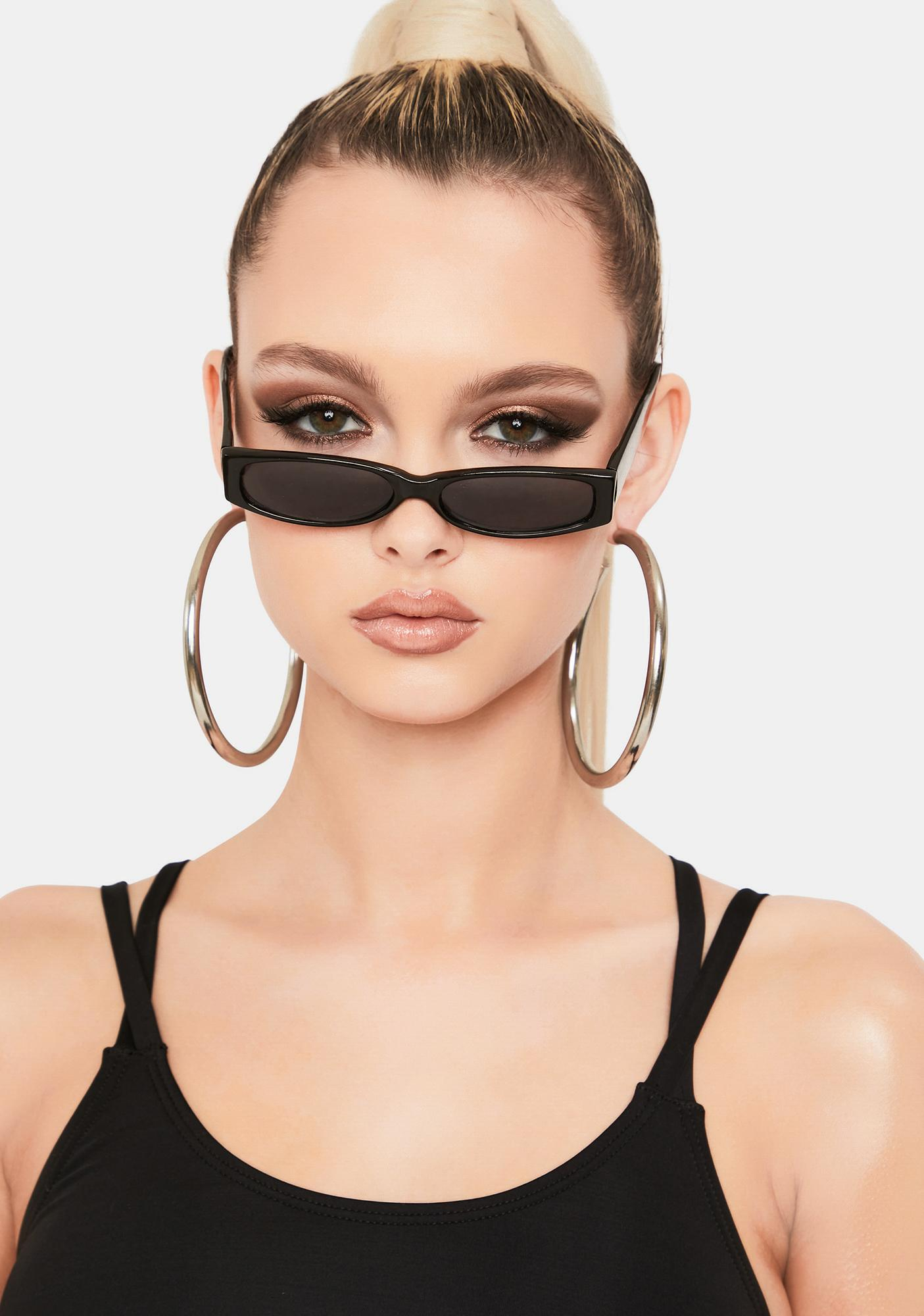 Good Times Eyewear Black Slim Tiny Sunglasses