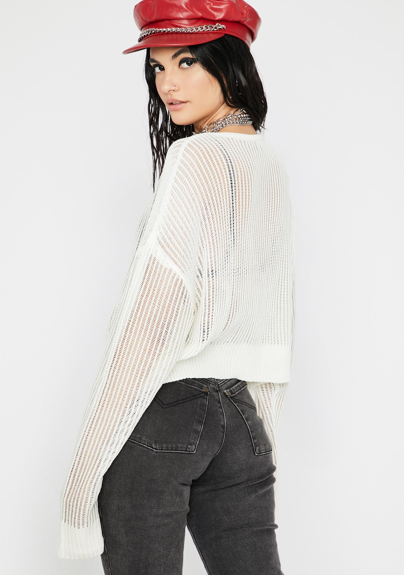 Purely Do Or Dare Sheer Sweater