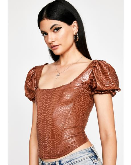 Mocha Not Your Toy Corset Blouse