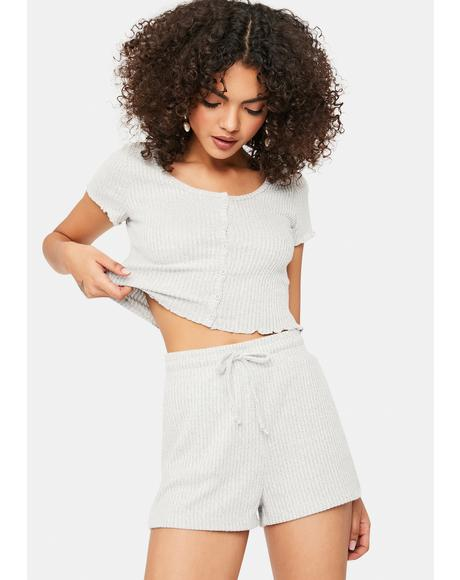 Heather Comfy Chic Ribbed Tee And Shorts Set