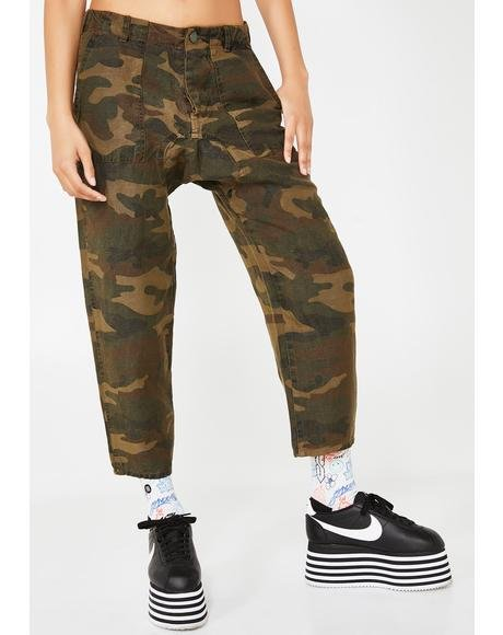 Drop Crotch Camo Joggers