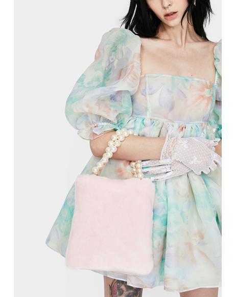 Pink Pearl Faux Fur Handbag
