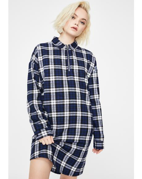 Half Zip Check Oversized Dress