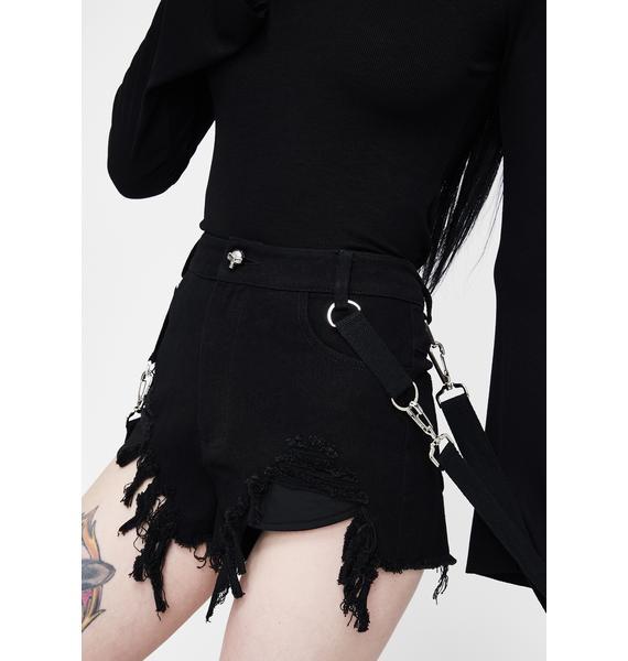 Punk Rave Death Distressed Suspender Shorts